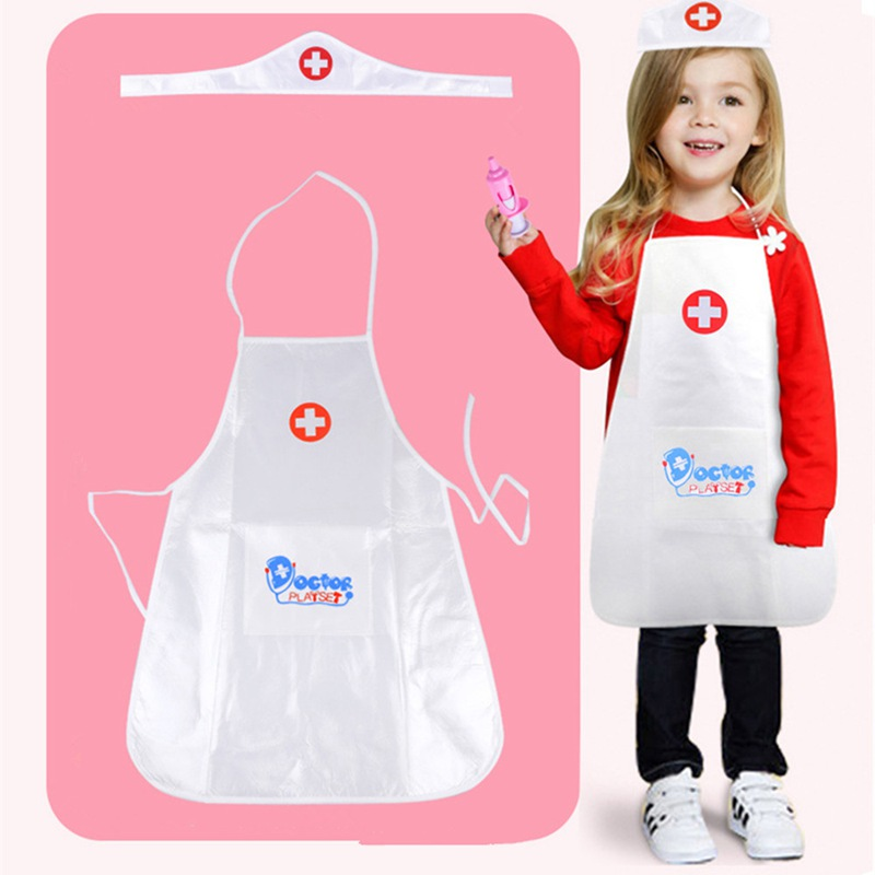 Kids Pretend Play Doctor Nurse Clothing Hat Children Cosplay White Nurse Uniform Hospital School Fancy Dress Costume Hot QDD9482