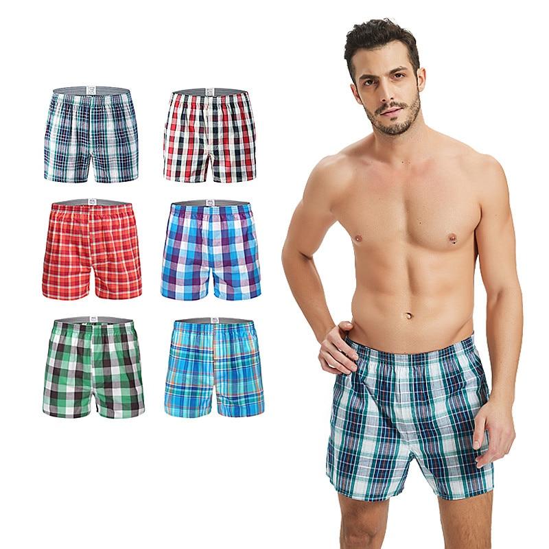 Classic Plaid Men's Boxers Cotton Mens Underwear Trunks Woven Homme Arrow Panties Boxer Plus Size 9XL Oversize Loose Men