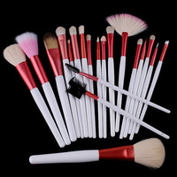 Hot sale 20Pcs Makeup Brushes Professional Cosmetic Make Up Foundation Brush Set with Pink PU Case Nylon and Natural Animal Hair