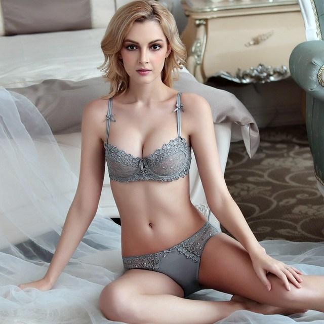 CINOON New 2017 Women Underwear Sexy Lace Transparent Bra Set Brand VS Ultra Slim Set Bra Panty sexy luxury lingerie ABCD CUP
