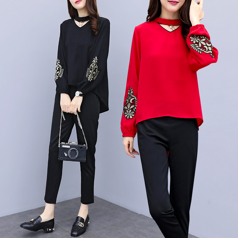 Spring Summer Two Piece Sets Women Plus Size Black Red Embroidery Long Sleeve Tops And Pants Suits Office Elegant Korean Sets 31