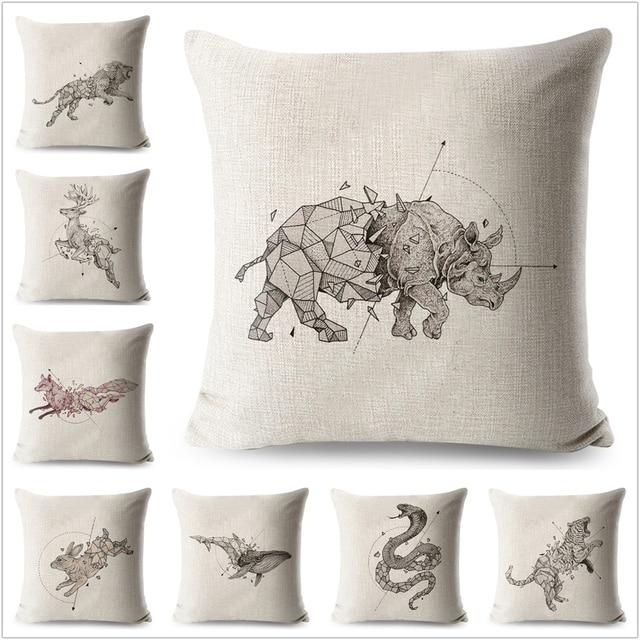 Rysunek Ołówkiem Zwierząt Nosorożca Wzór Pościel Poszewka Na