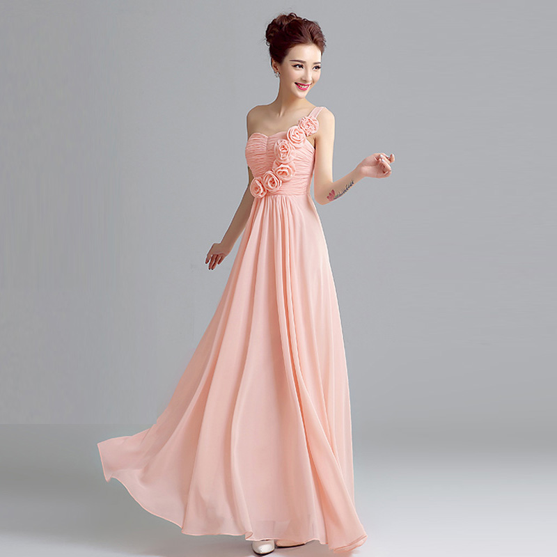 2016 New Design In Stock Pink Color Chiffon Pleated High