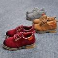J Топленое Масло Новая Коллекция Весна Осень Мальчики PU Кожаные Ботинки Дети Повседневная Мокасины, босоножки, Мартин Обувь детская кроссовки Британский Стиль