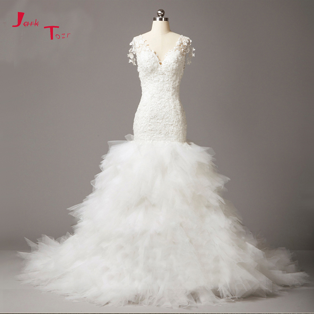 Tulle Overskirt Wedding Dresses Mermaid Bateau Neck Simple: Jark Tozr Robe De Mariage V Neck White Tulle Luxury