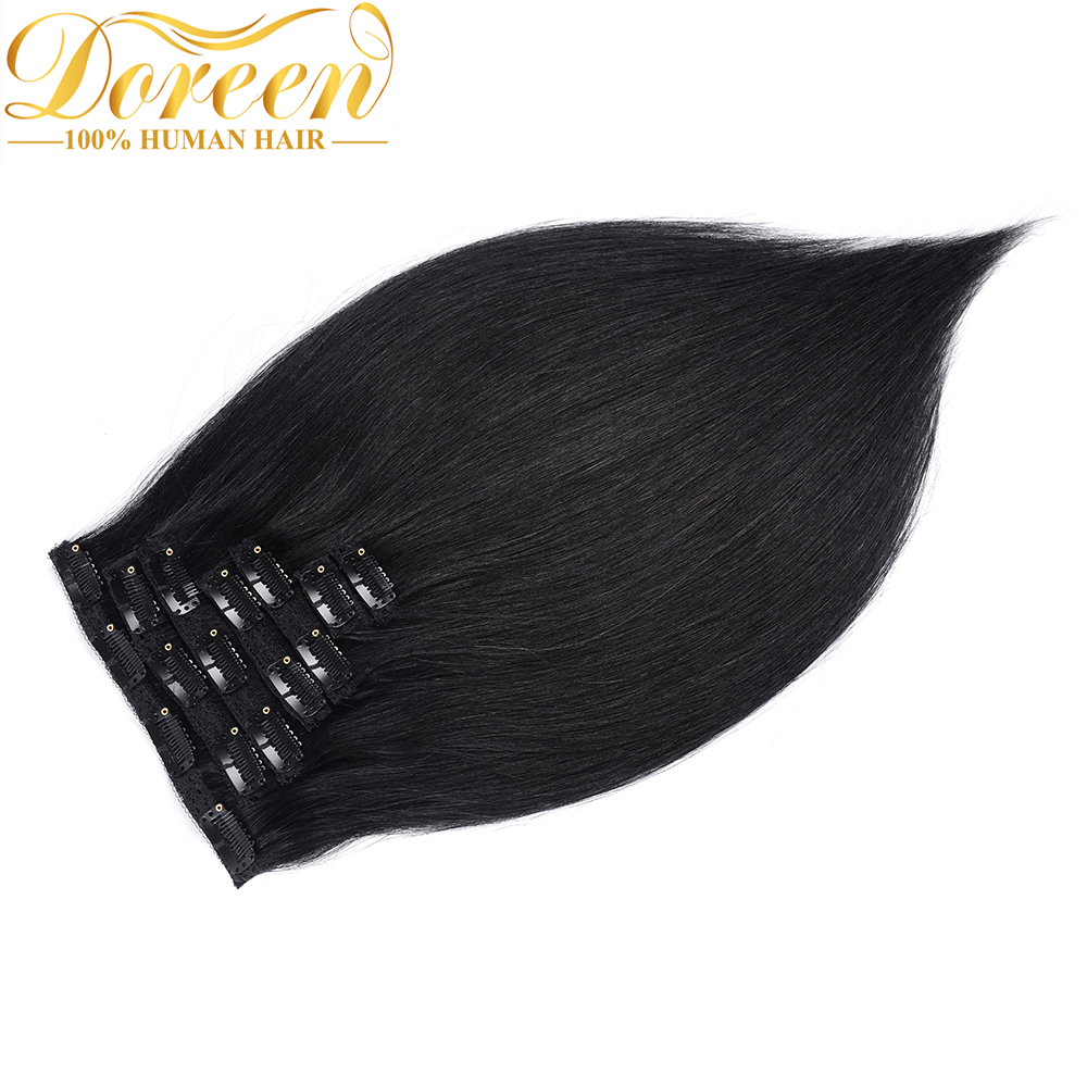 Doreen  200G  24 26 Inch Full Head Set 10 Pcs Clip In Human Hair Extensions Straight  Brazilian Machine Made Remy Hair Clip Ins(China)