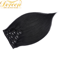 Doreen 200G Full Head Set 10 Pcs Clip In Human Hair Extensions Straight Jet Black 16