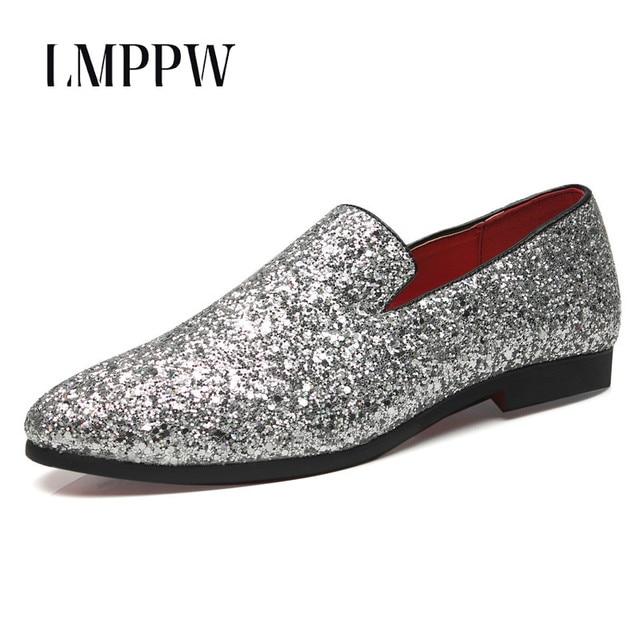 ae5fa17e0 Estilo europa Homens Mocassins Moda Brilho Sapatos Casuais Grande Tamanho  Respirável Homens Mocassins De Luxo Partido