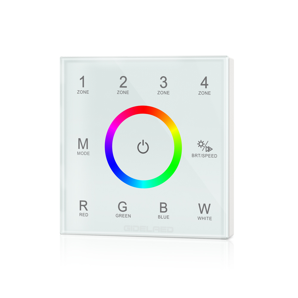 DIY home use 4-zone Wall mounted touch panel RGB RGBW LED controller for PWM dimmer led RGBW strip controller input DC12V-24V good group diy kit led display include p8 smd3in1 30pcs led modules 1 pcs rgb led controller 4 pcs led power supply