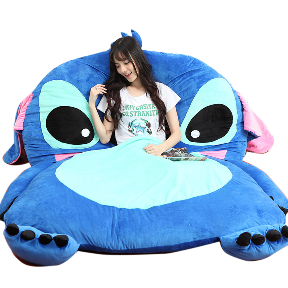Fancytrader Anime Plush Stitch Sovesofa Tatami Giant Soft Beanbag Tæppe Madras Sovepose 3 Størrelser Great Novelty Gift