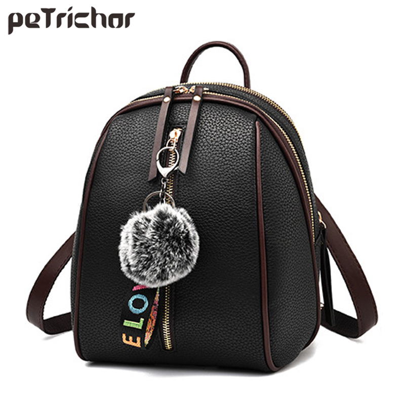 Free Pendant Small Backpack For Women Zipper PU Leather Laptop Girl School Backpack Ladies Shoulder Bag Female Purse Wholesale