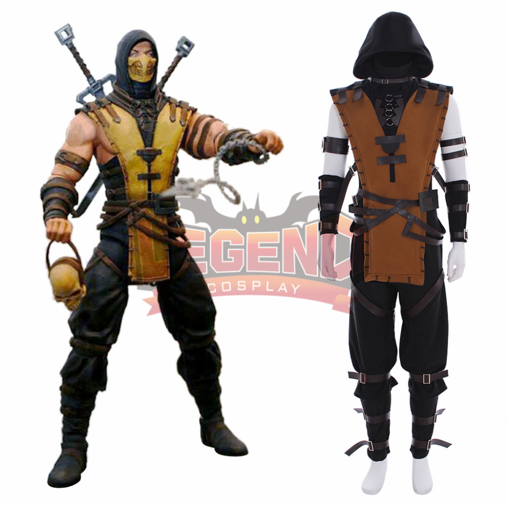 Game Mortal Kombat X Scorpion Hanzo Hasashi Cosplay Adult Costume Full Set Custom Made Outfit