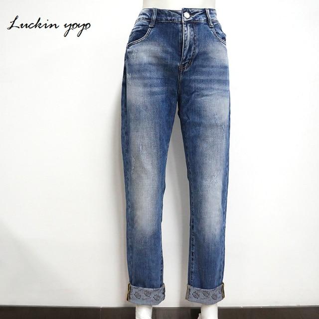 Luckin yoyo/женские джинсы с высокой талией больших размеров, женские джинсы, брюки, штаны, поцарапанные джинсовые штаны-шаровары
