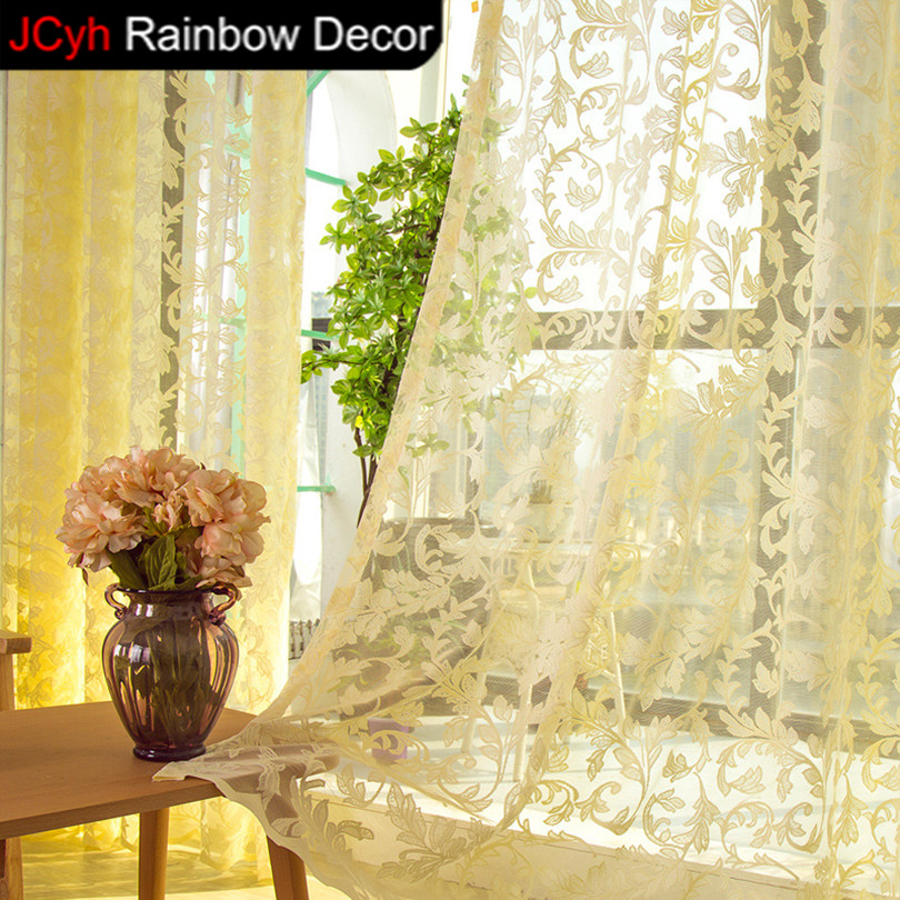Modern Window Curtain With Flower Design: JRD Modern Lace Curtain Bedroom Tulle Curtains Luxury