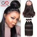 7A Peruvian Virgin Hair With Closure 360 Lace Frontal Closure With Bundles Straight Hair With Frontal Hair Extension Gossip Girl