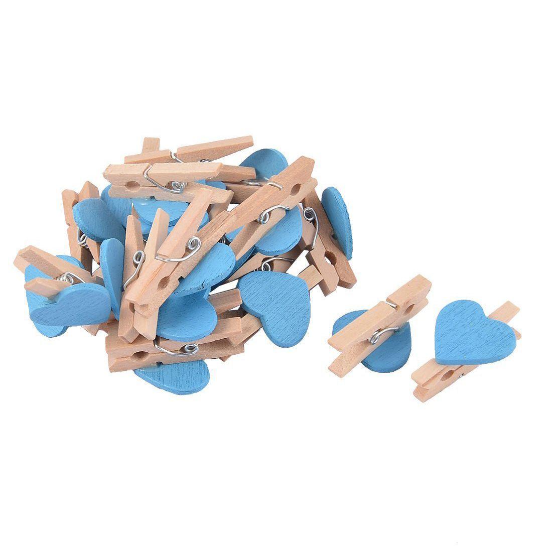 Love Heart Card Photo Clothespins Pegs Mini Wooden Clip 20pcs Blue
