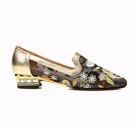Phoentin shose women embroider flower low square heels with crystal lace mesh gold shoes 2019 comfortable ladies footwear FT423 Lahore