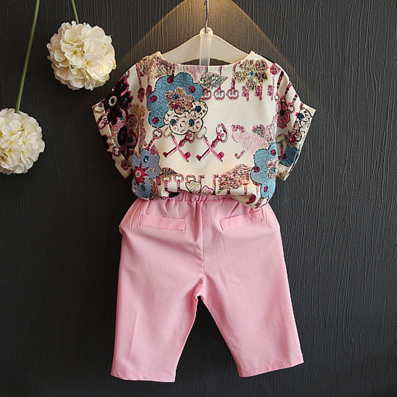 Baby Kids Girl Short Sleeve Shirt Floral Print+Short Clothes 2PCS Casual Outfits Set short