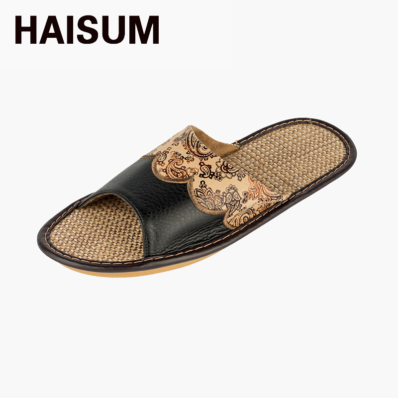2017 Haisum Men's Summer Slippers-with Floral Pattern Leather Absorb Sweat Anti-slip Open-toed Linen House Slippers tb003 2016 spring cute cat lovers slippers fish head back open toed slip room flat slippers women slippers free shipping