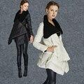 Mulheres jaqueta de inverno 2016 nova moda pato branco para baixo parkas grande gola patchwork manto casaco feminino jaqueta