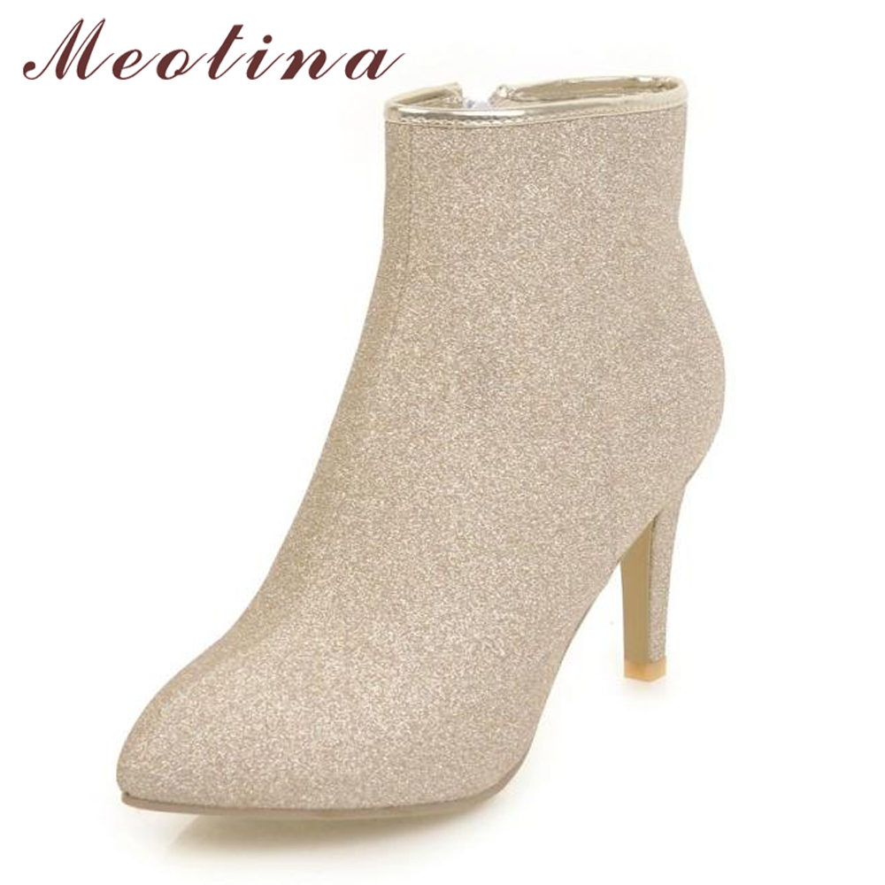 Meotina High-Heel Boots Gold Purple Shoes Bling Sexy Women Ladies 43 Warm Sliver Zip
