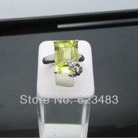 Твердое кольцо из белого золота 14 К натуральный Зеленый Перидот с бриллиантами
