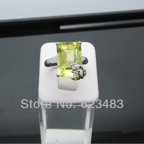 Bague de fiançailles en or blanc 14 K véritable péridot vert naturel