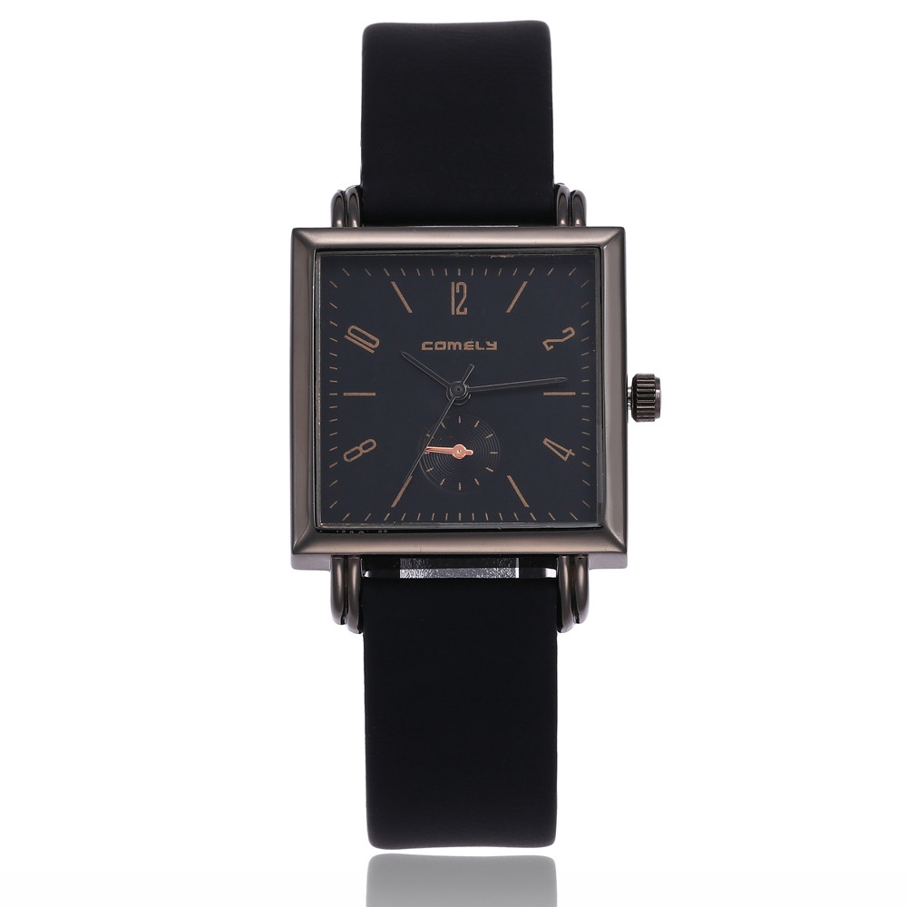 2018 women's watches Fashion Leather Band Analog Quartz Square Wrist Watch Watches relogio feminino saat Watches for women O26 1