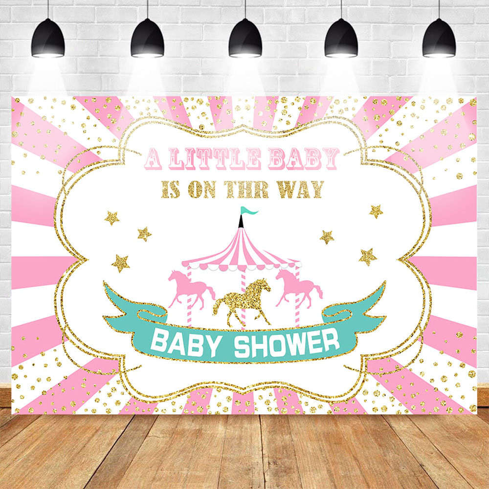 Mehofoto Circus Photography Backdrops Photocall Baby Shower Newborn Background Little Horse Stripes Gold Sequins Stars