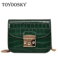 TOYOOSKY Buy 1 Get 1 Free Alligator Crocodile Leather Mini Women Crossbody Bag Chain Small Women's Messenger Shoulder Bag Set
