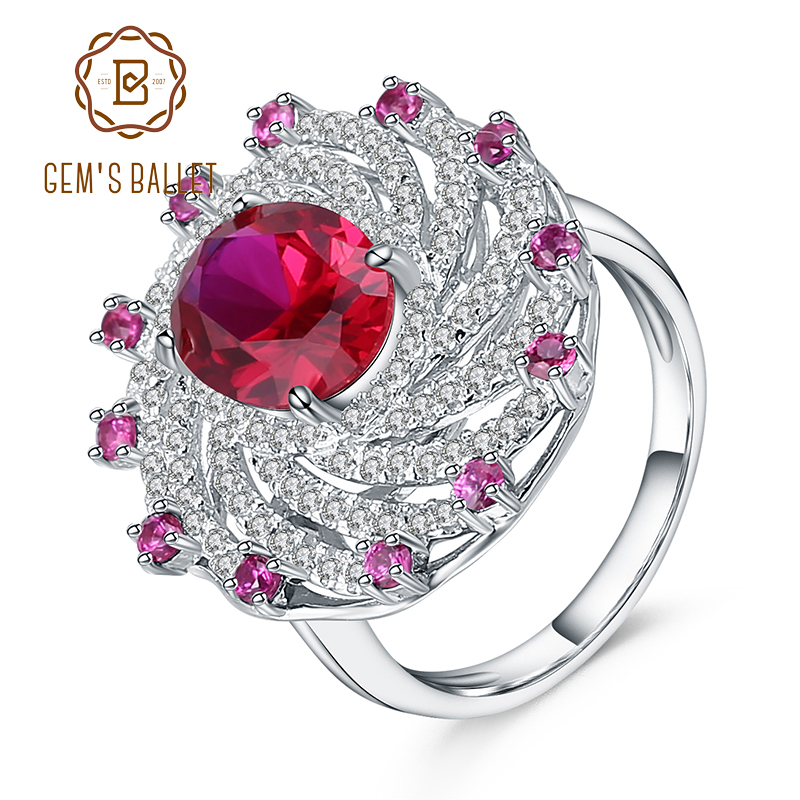 Gems Ballet Huge Luxury Created Ruby Vintage Cocktail Ring 925  Sterling Silver Engagement Wedding Rings For Women Fine JewelryRings