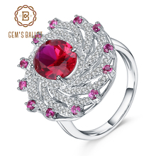 Gems Ballet Huge Luxury Created Ruby Vintage Cocktail Ring 925 Sterling Silver Engagement Wedding Rings For Women Fine Jewelry