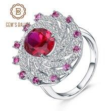 Klejnot balet ogromny luksus stworzony Ruby Vintage pierścionek koktajlowy 925 srebro obrączki zaręczynowe dla kobiet biżuterii