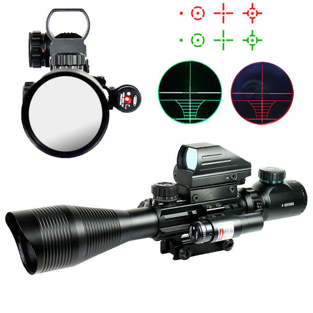 Tactical Sight 4-12X50EG Red & Green Illuminated Rifle Scope w/ Holographic 4 Reticle Sight & Red Laser For 20mm Rail tactical reflex red green laser 4 reticle holographic projected dot sight scope airgun rifle sight hunting rail mount 20mm