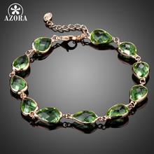 AZORA Rose Gold Color 11pcs Green Pear Shape Stellux Australian Crystal Tennis Chain Bracelets TS0158(China)