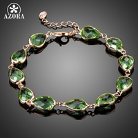 AZORA Rose Gold Plated 11pcs Green Pear Shape Stellux Australian Crystal Tennis Chain Bracelets TS0158