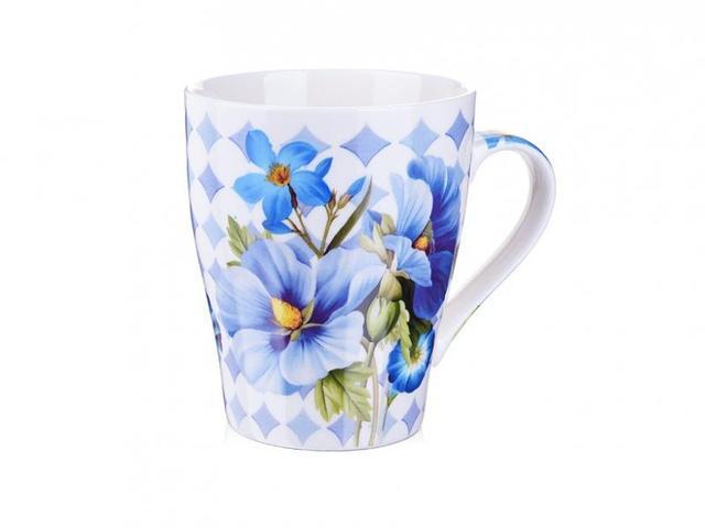 Кружка LORAINE, Цветы, 340 мл, синие цветы