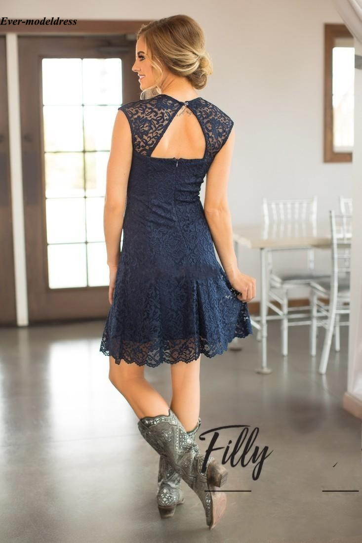 Dark Navy Lace Bridesmaid Dresses 2018 Backless Beach Knee Length Wedding Guest Prom Party Gowns Cheap