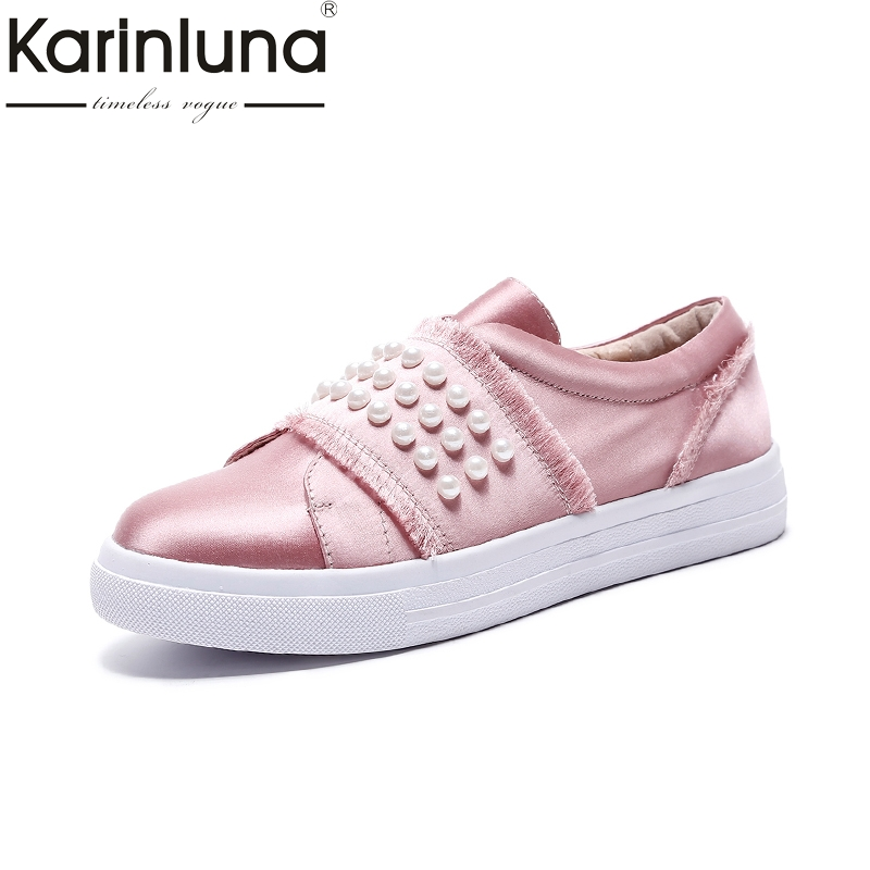 Karinluna Hot Sale Size 33-40 Silk Pearl Flats Shoes Woman Black Pink Sweet Casual Loafers Women Shoes Footwear fashion women shoes woman flats high quality comfortable pointed toe rubber women sweet flats hot sale shoes size 35 40