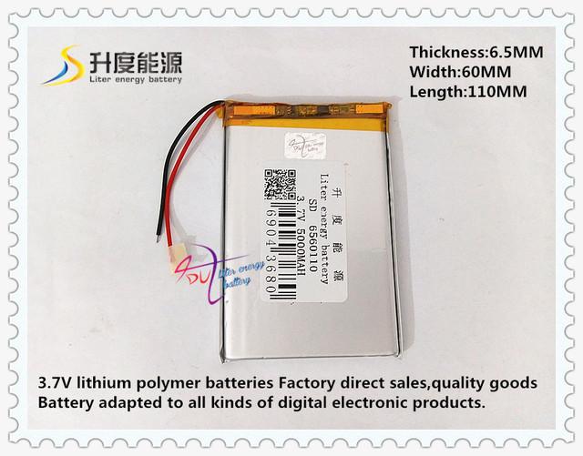 3.7 V 5000 mAH 6560110 (bateria de iões de lítio polímero/classe A cell) bateria Li-ion para tablet pc GPS e-book speaker