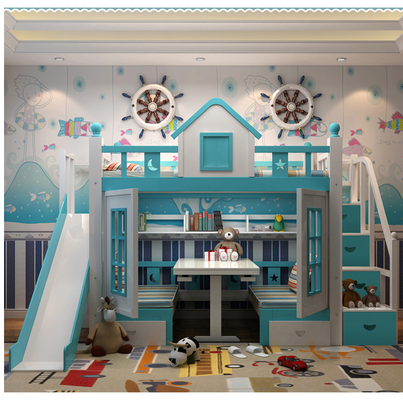 6  0128TB006 Fashionable kids bed room furnishings princess fortress with slide storages cupboard stairs double kids mattress HTB1p1pzo4HI8KJjy1zbq6yxdpXa0