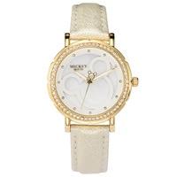 Frauen uhr Disney marke Mickey maus damen uhr Echtem leder quarzuhr frauen luxus diamant wasserdichte weibliche uhren-in Damenuhren aus Uhren bei