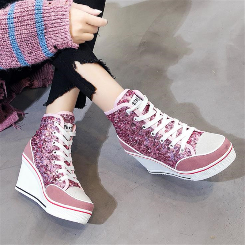 Top.Damet Sneakers Women Casual High Heel Platform Shoes Lace Up Breathable Weges High Top Bling Canvas Shoes Girls Plus Size
