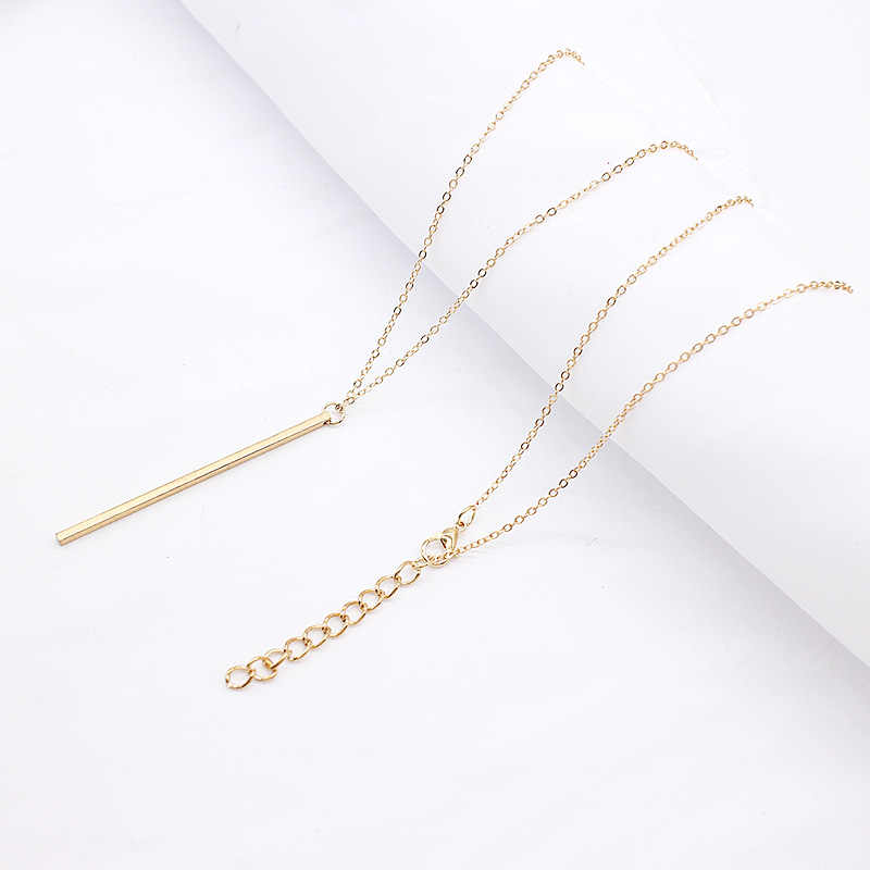 New Classic fashion Stick Pendant Necklace Hollow Girl Long Link Chain Square Copper Necklaces long Strip Jewelry for women
