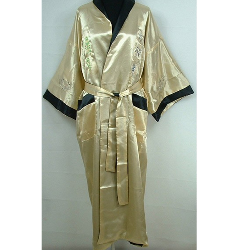 Hottest Gold Black Male Satin Reversible Bathrobe Chinese Traditional Bath Gown Nightwear Wholesale Retail One Size  ZR30