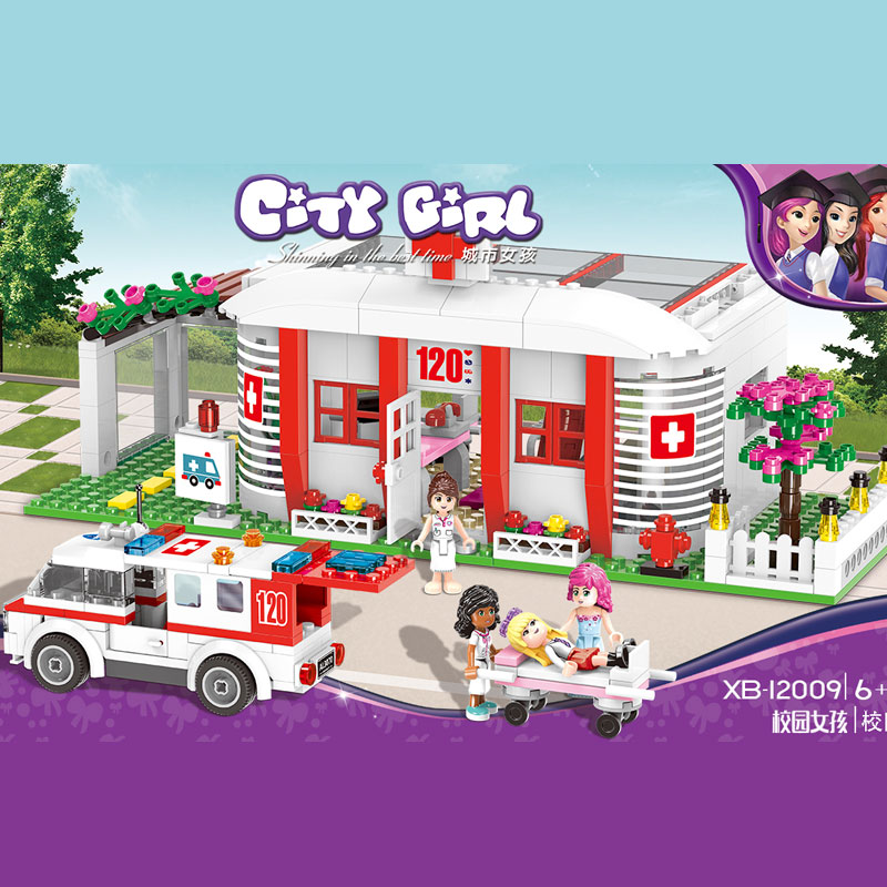 XINGBAO 12009 Toys City Girls Series The Campus Medical Office Set legoing Building Blocks Bricks Funny Girl Kids Gifts Toys xingbao 12005 402pcs school bus model sets city girl series legoinglys building nano blocks bricks funny toys for kids