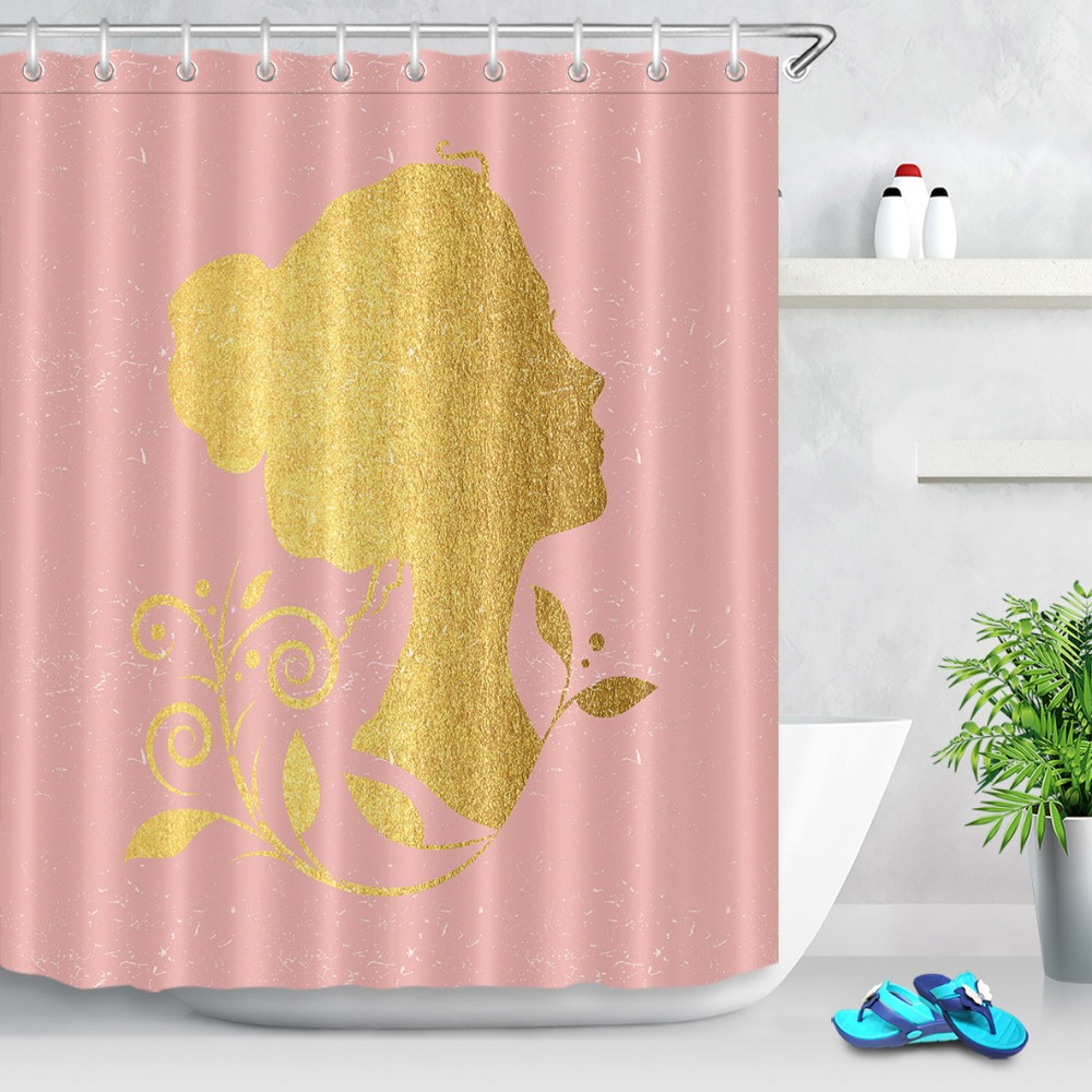 Aliexpress Buy LB 72 12 Hooks Waterproof Polyester Gold Girl Print Pink Shower Curtains Set Bathroom Curtain Fabric For Bathtub Home Decor From