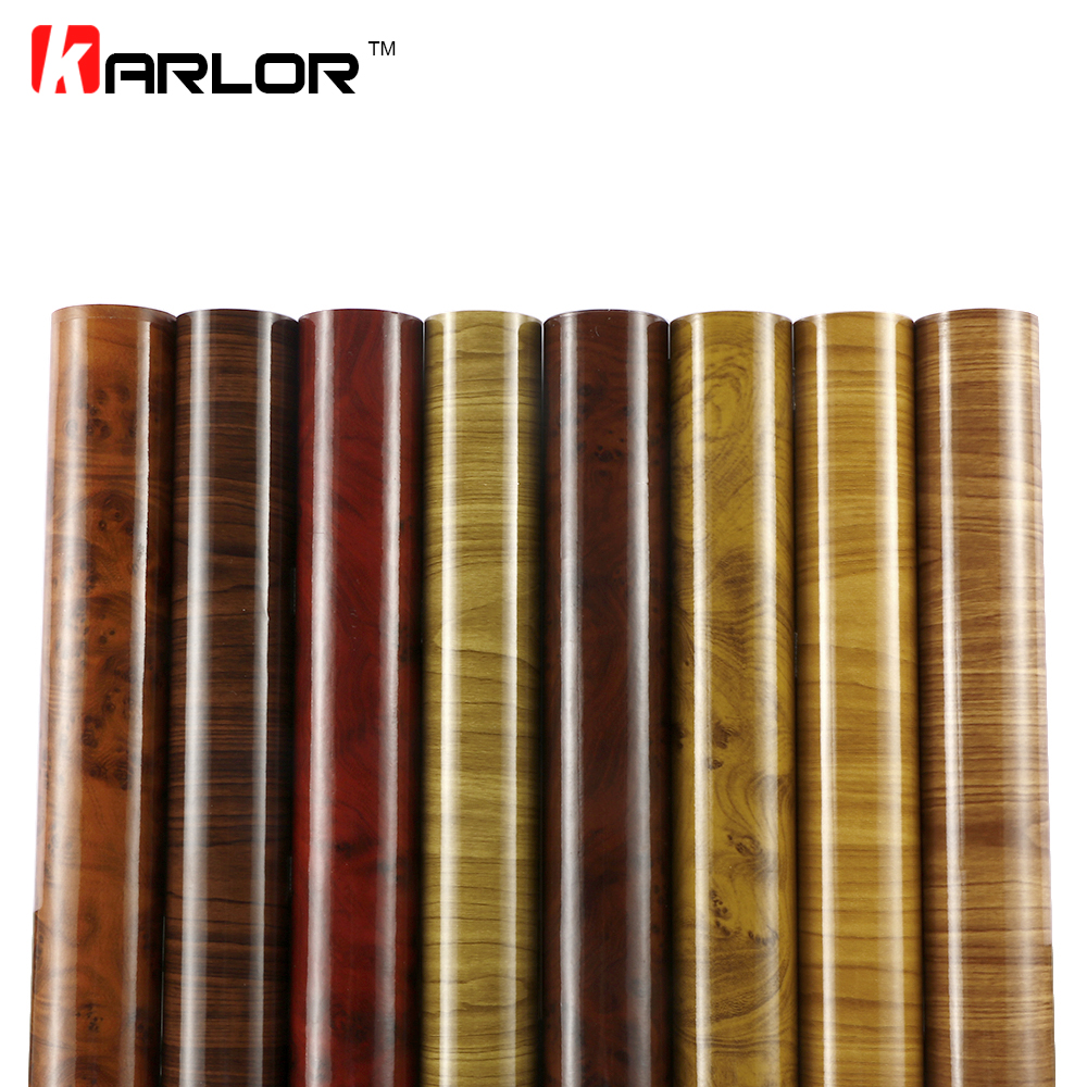 60cmx500cm Glossy Wood Grain Car Wrap Vinyl Film DIY Wood Grain Textured Furniture Decal Waterproof Self-adhesive Car Sticker