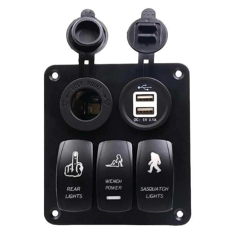5-контактный двойной светильник 3 Gang кулисный переключатель Панель с свет, светилтник прикуривателя белый Core Dual USB YAN88