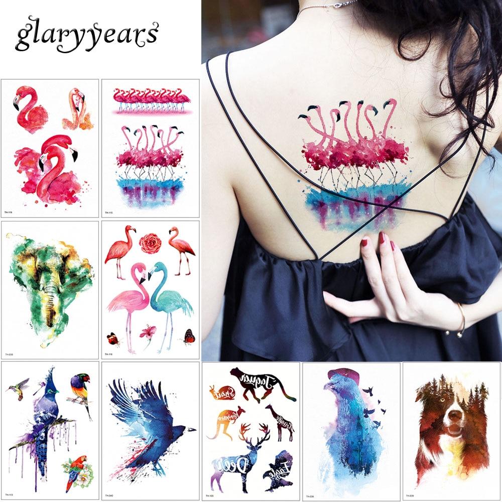 cfcebcbd2 glaryyears 24 Designs 1 Sheet Watercolor Animal Temporary Tattoo Fox Wolf Decal  Body Sticker Water Transfer Tattoo Paper Fashion